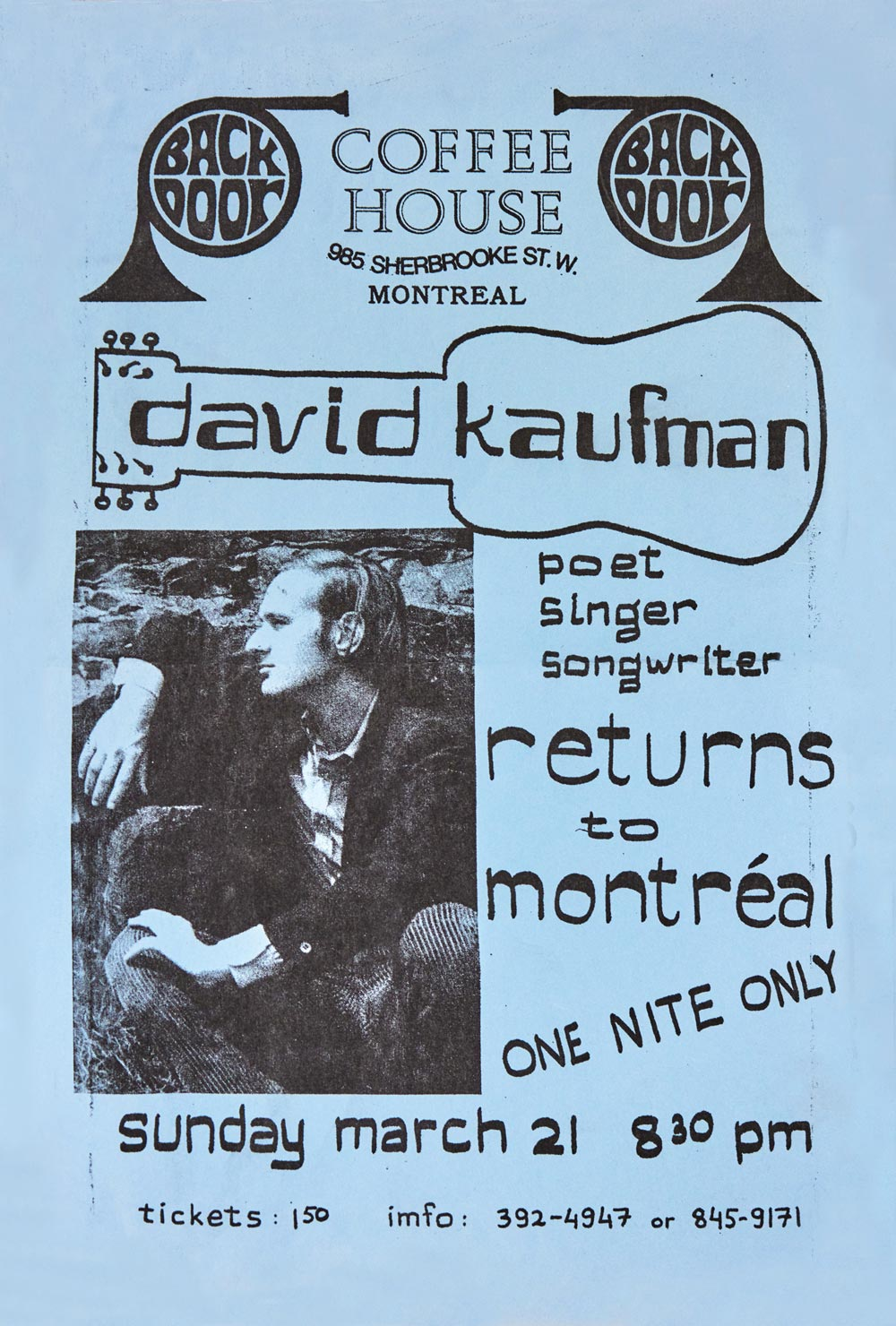 David Kaufman at the Back Door Coffee House, 1970
