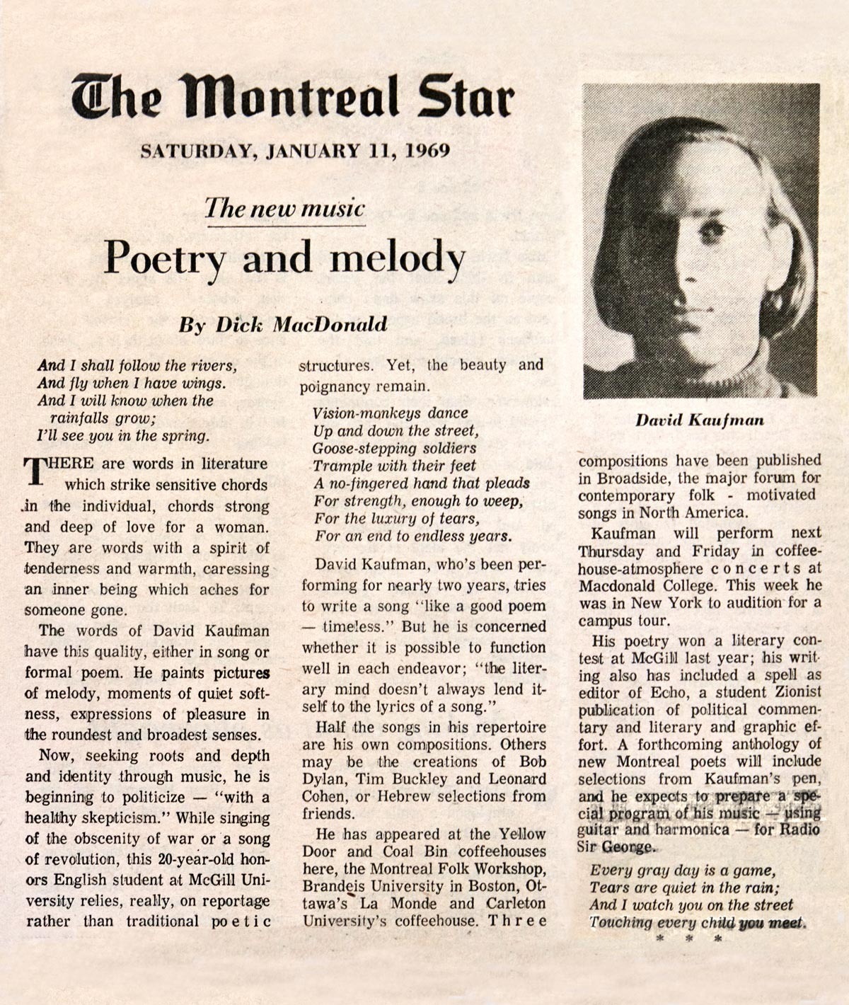 Montreal Star article, January 11, 1969